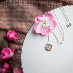 Pandantiv inimă personalizat cu lapte matern și pigment