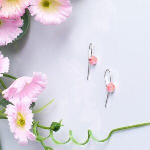 Cercei floare cu inserții din cordon ombilical