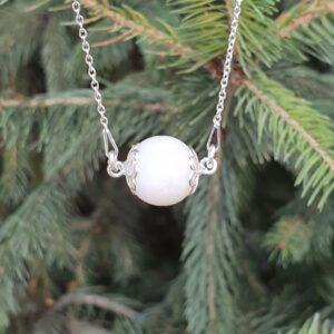Colier cu perlă din lapte matern și lanț argint 925