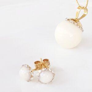 Set perle cu lapte matern și cristale tip Swarovski