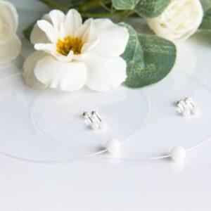 Set cercei și coliere transparente cu perle din lapte matern