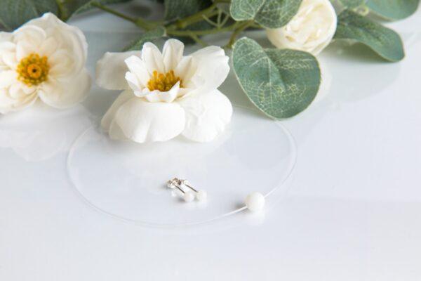 Set cercei și colier transparent și perlă cu lapte matern
