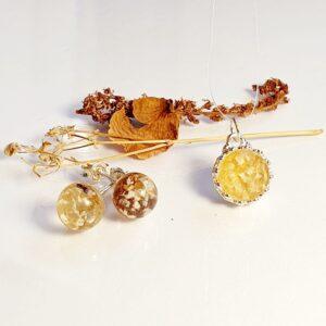 Set bijuterii cu flori de la nunta/botez